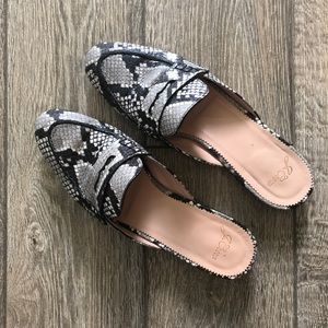 j. crew Academy penny loafer mules snake-embossed